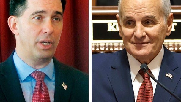 Wisconsin Gov. Scott Walker (left) and Minnesota Gov. Mark Dayton (right).
