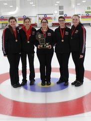 Members of the high school girls curling state championship