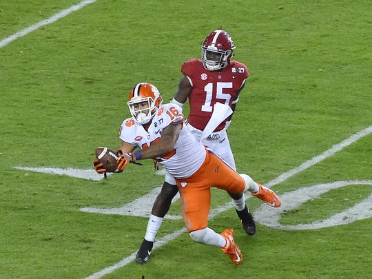 Jordan Leggett, shown with his late catch during Clemson's winning drive against Alabama in the national championship game, was selected by the New York Jets with the No. 150 overall pick in the fifth round of the NFL draft.