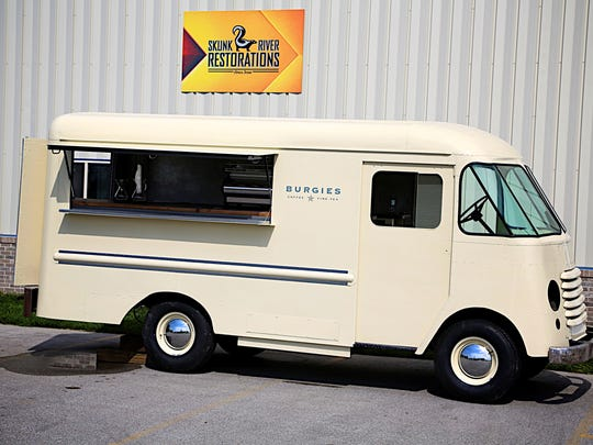 The Burgie's coffee truck as it appears mid-restoration at Skunk River Restorations in Ames.