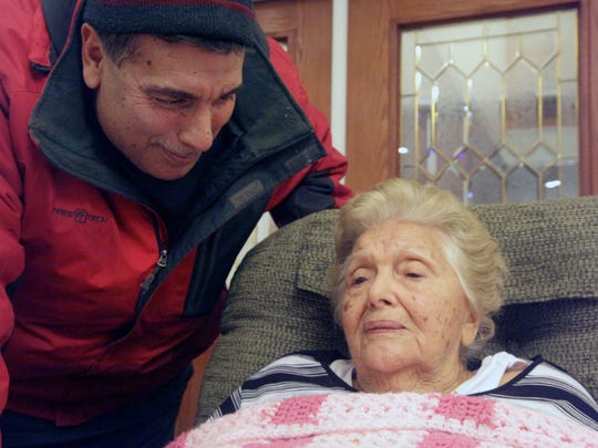 "Joe Calechio visits with his mother Lucy Calechio at Blue Ridge Christian Home in Raphine. Calechio, a former nursing home volunteer, protested when her son moved her there, ""Oh, Joey, no one leaves those places except in caskets."""