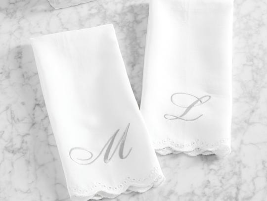 "Monique Lhuiller ""Jolie"" embroidered guest hand towel"