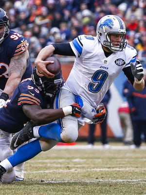 Lions quarterback Matthew Stafford is sacked for a loss by Bears linebacker Christian Jones.