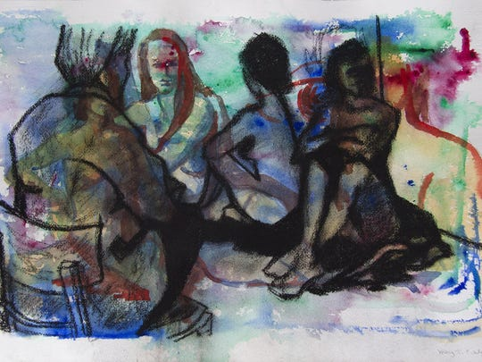 """Figure Studies 2"" charcoal over acrylic by Mary Echols."