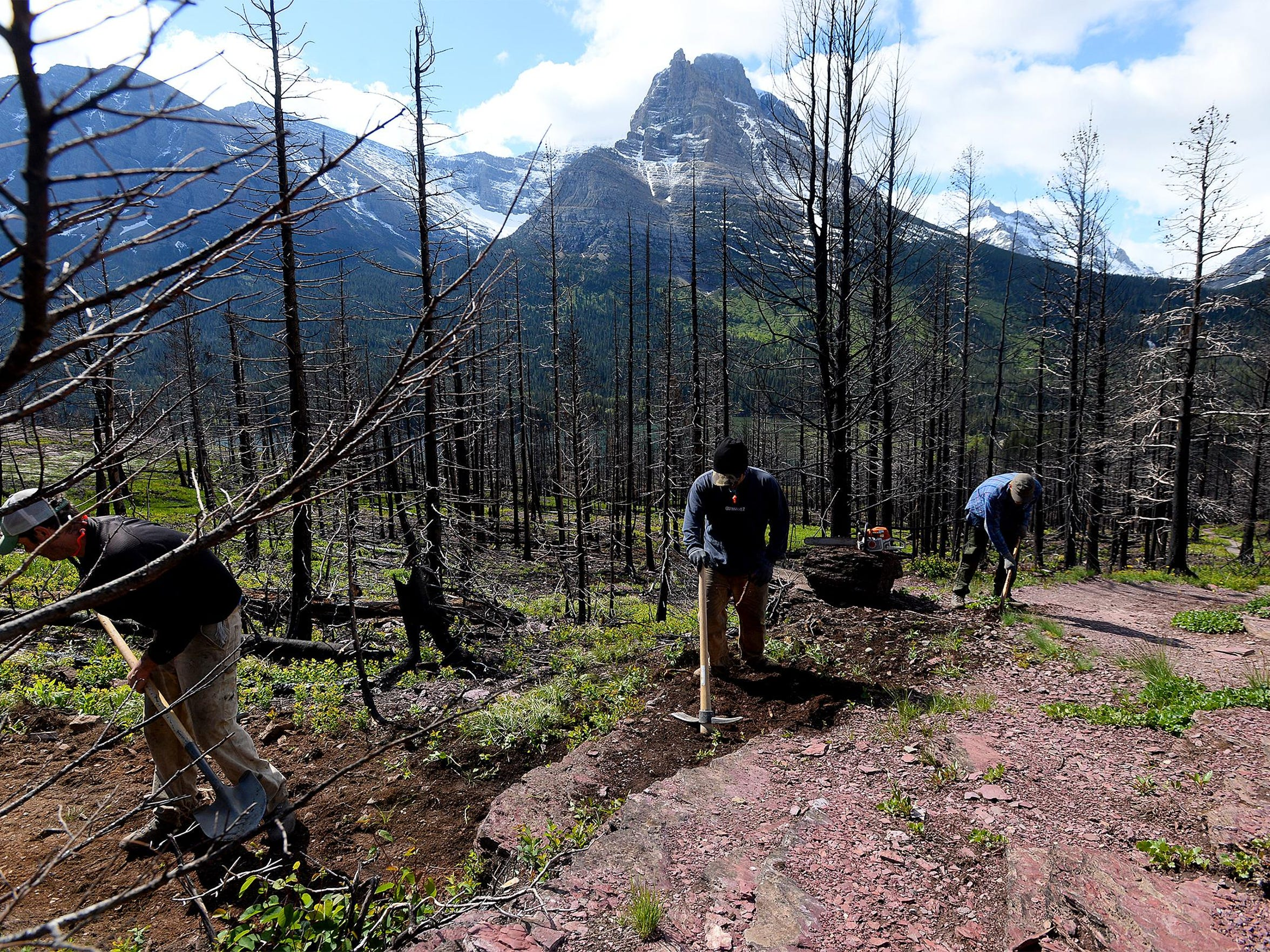National Park Service trail crew work on the St. Mary