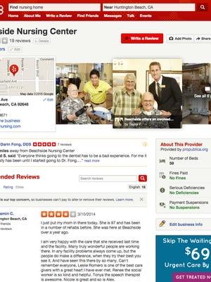 Screen shot of Yelp page with expanded healthcare information.