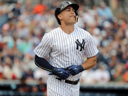 New York Yankees right fielder Giancarlo Stanton (27)