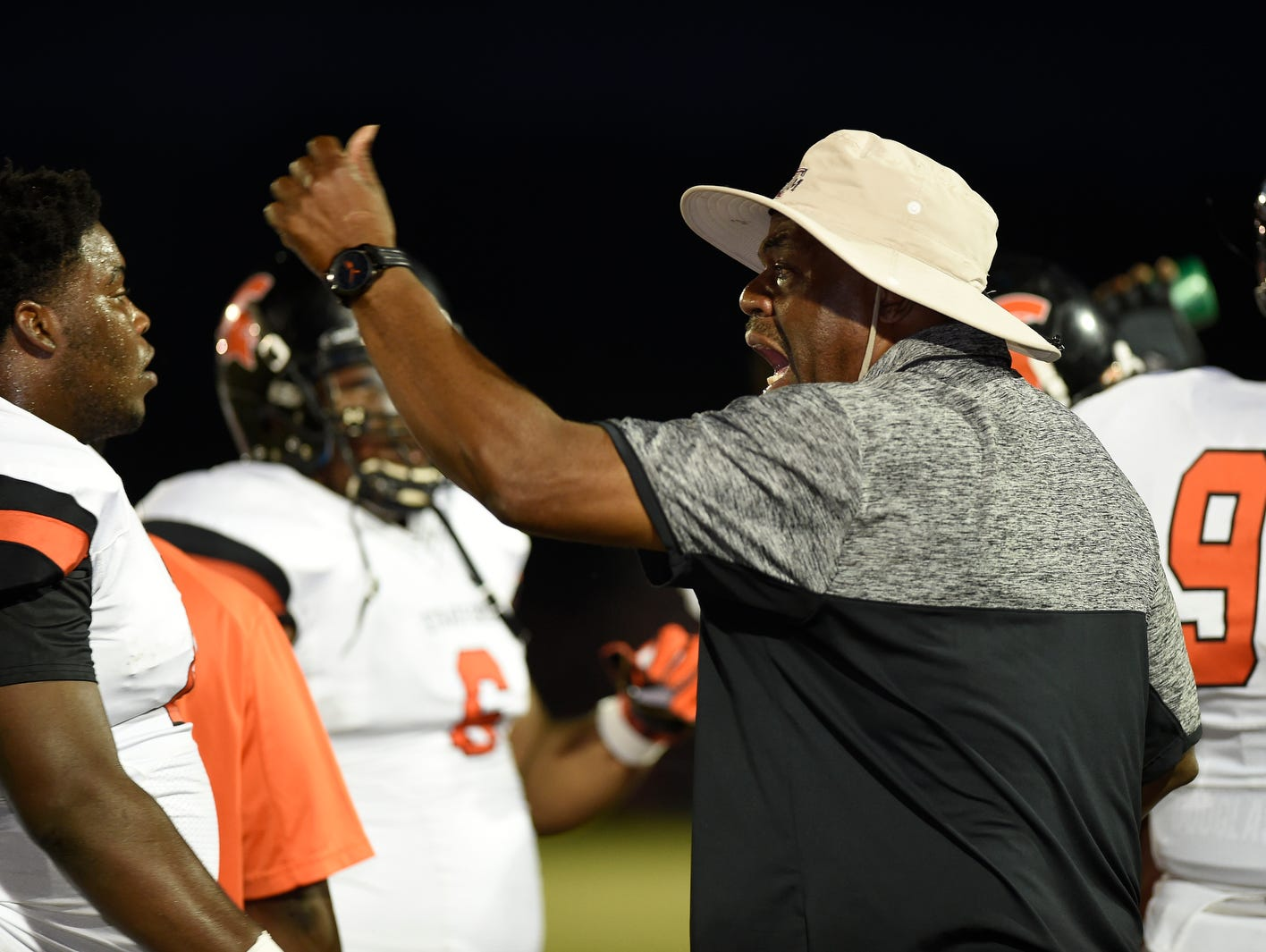 Stratford coach Maurice Fitzgerald during their game at White House-Heritage.