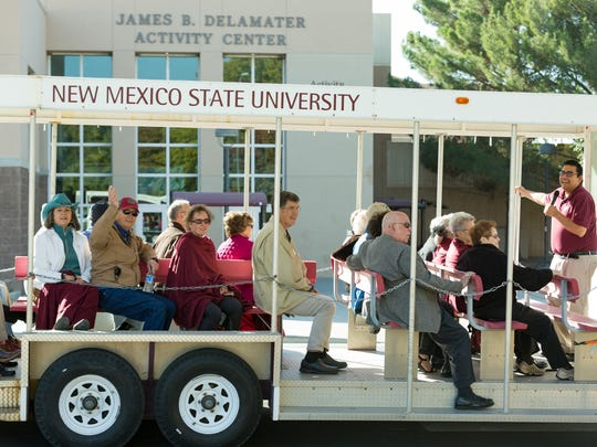 New Mexico State University alumni of the classes of 1957 and 1967 take a trolley campus tour down memory lane on Friday October 27, 2017.