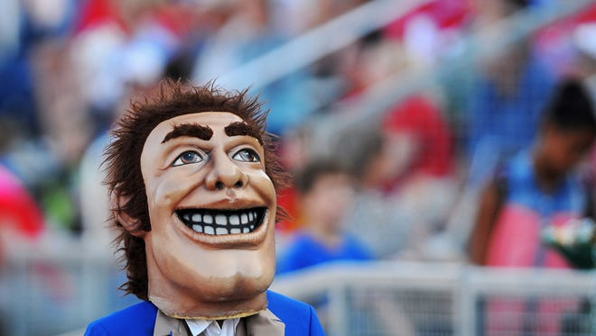The Lincoln Patriots' mascot during a game against Aberdeen Central  in 2015. Vote for your favorite mascot in our Scheels Best Mascot contest.