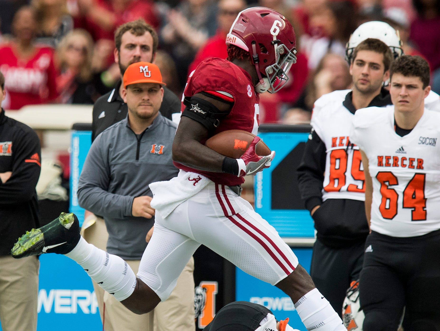 """Alabama defensive back Laurence """"Hootie"""" Jones (6) intercepts a pass against Mercer wide receiver Marquise Irvin (8) in first half action at Bryant Denny Stadium in Tuscaloosa, Ala. on Saturday November 18, 2017. (Mickey Welsh / Montgomery Advertiser)"""