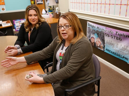 School counselor Angela Bieghler, foreground, and principal Sarah Gustin recount the difficult days immediately following the deaths of Liberty German and Abigail Williams Tuesday, February 6, 2018, at Delphi Community Middle School in Delphi. The two girls, who were students at the school, were murdered February 13, 2017, while hiking the Monon High Bridge Trail just east of Delphi.