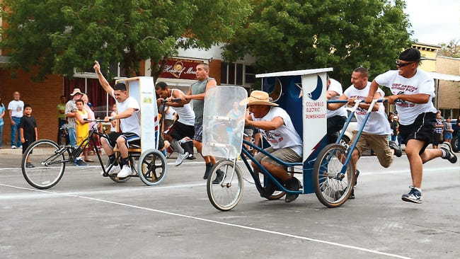 Headlight File Photo Photo finishes are common during the Great American Outhouse Race. This year's souped up commodes will be dashing down Silver Street at 5:30 p.m., on Saturday, Aug. 24.