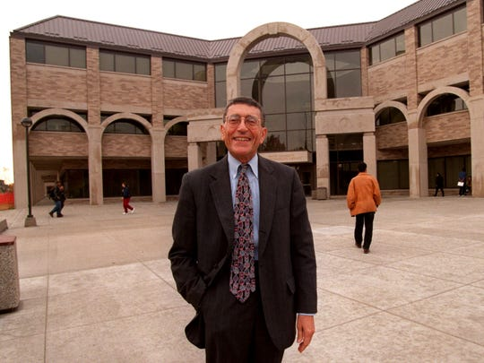 Dr. David Adamany is photographed in front of the new