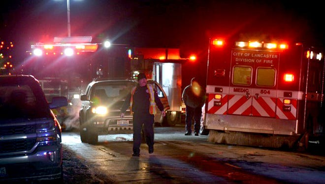 Lancaster firefighters and police responded to a call of a pedestrian being hit by a vehicle Thursday night, Jan. 4, 2018, in the area of North Zane Avenue and West Sixth Avenue in Lancaster. Police confirmed the pedestrian has died, but they haven't been able to identify him.