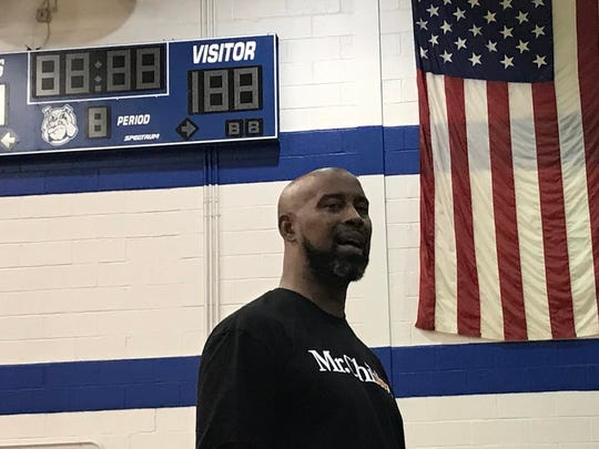 Former NBA player Kenny Anderson speaks at Montclair High School Friday afternoon.