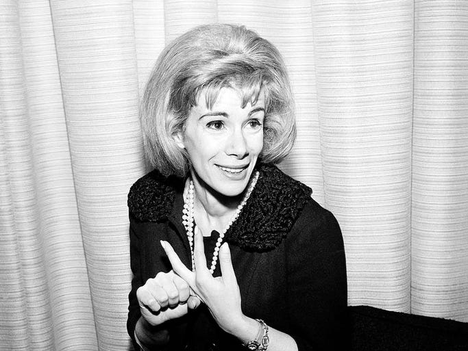 FILE - This April 12, 1965 file photo shows comedienne Joan Rivers in Los Angeles. Rivers, the raucous, acid-tongued comedian who crashed the male-dominated realm of late-night talk shows and turned Hollywood red carpets into danger zones for badly dressed celebrities,  died Thursday, Sept. 4, 2014. She was 81. Rivers was hospitalized Aug. 28, after going into cardiac arrest at a doctor's office. (AP Photo/Dan Grossi, File)