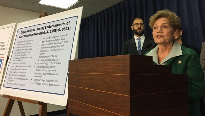 Assemblywoman Ellen Jaffee, D-Suffern, at a June 10 news conference near the Capitol with dozens of advocates of a bill that would install a monitor for the East Ramapo school district.