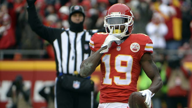 Jeremy Maclin celebrates a touchdown reception during the 2016 season at Arrowhead Stadium in Kansas City, Mo.