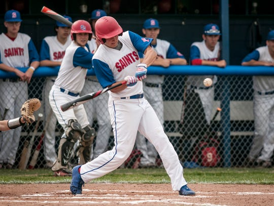 St. Clair's Gehrig Anglin gets a hit Tuesday, May 23,
