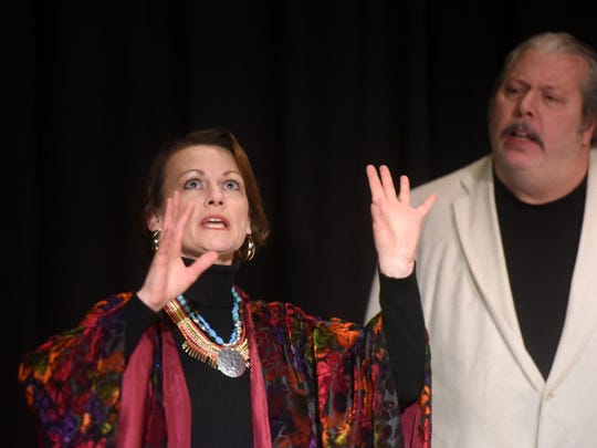 Rhonda Sigler, left, and Tim Bagley run through a scene during a rehearsal of 'Deathtrap' on Jan. 21 at the Spotlight Theater at Farmington High School.
