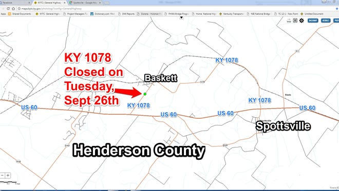 Road closure on Ky. 1078 is set for Tuesday, Sept. 26.