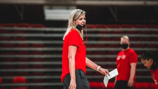 Krista Gerlich conducted her first practice as Texas Tech's women's basketball coach Wednesday.