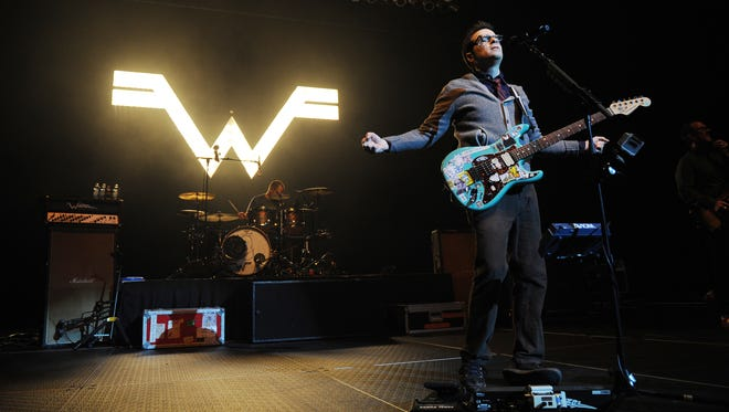 Rivers Cuomo of Weezer performs at Hard Rock Live! at the Seminole Hard Rock Hotel & Casino on June 8, 2014 in Hollywood, Florida.