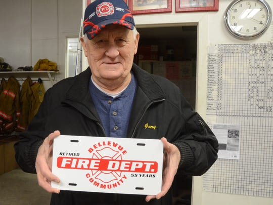 Gary Greenfield will have a new plate  designating his 55-years with the Bellevue Fire Department.