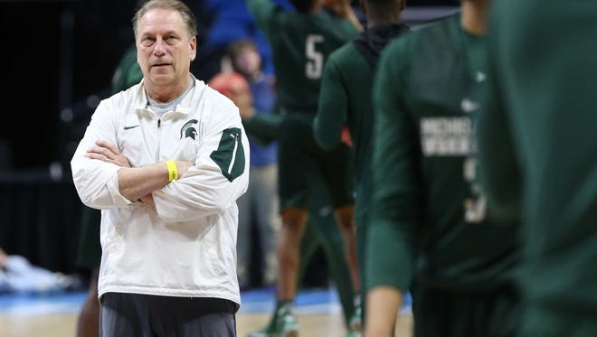 Michigan State Spartans head coach Tom Izzo during practice at BOK Center. Mandatory Credit: Kevin Jairaj-USA TODAY Sports