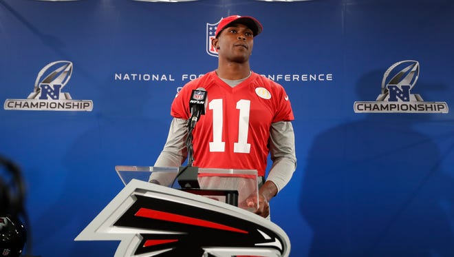 Atlanta Falcon receiver Julio Jones lduring a news conference before practice on Thursday in Flowery Branch, Ga. The Falcons will face the Green Bay Packers in the NFC Championship on Sunday in Atlanta.