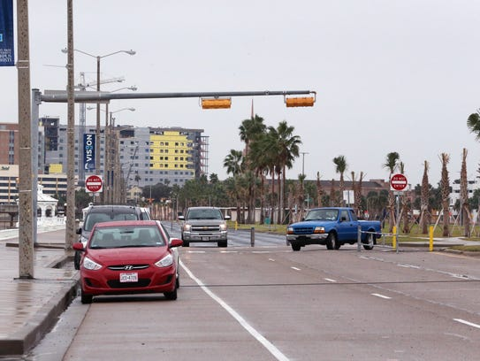 Vehicles travel down old Shoreline Boulevard on December