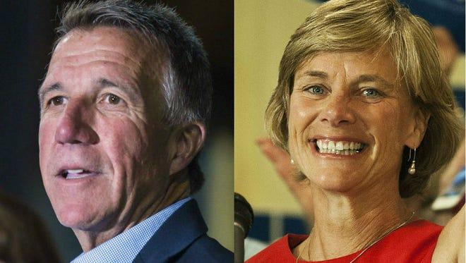 Republican gubernatorial candidate Lt. Gov. Phil Scott, left, and Democratic gubernatorial candidate Sue Minter.