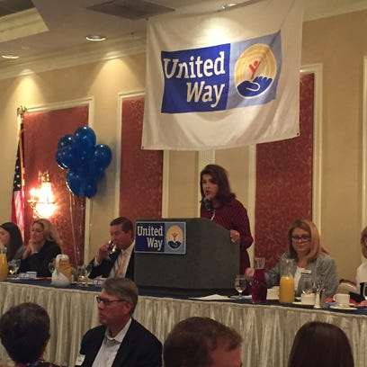 Denise Doring VanBuren leads the United Way of the Dutchess-Orange Region kick-off to the the 2016 Campaign for the Common Good Thursday morning in the City of Poughkeepsie.