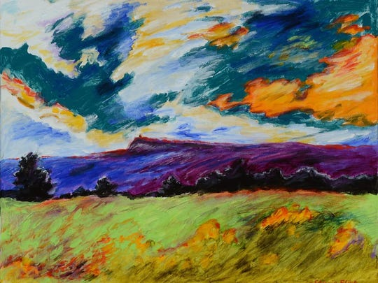 """""""Mohonk with Dramatic Sky,"""" an acrylic work by Stacie Flint is party of her solo show at Roost Studios in New Paltz through July 13."""