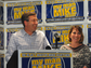Mayor Mike Huether and his wife, Cindy, smile as the crowd cheers after winning the election on Tuesday, April 8, 2014 during a campaign party at the downtown Hilton Garden Inn.