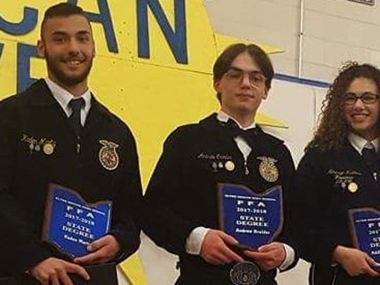 Three Clyde FFA members received their state FFA degrees in May at the annual convention in Columbus.