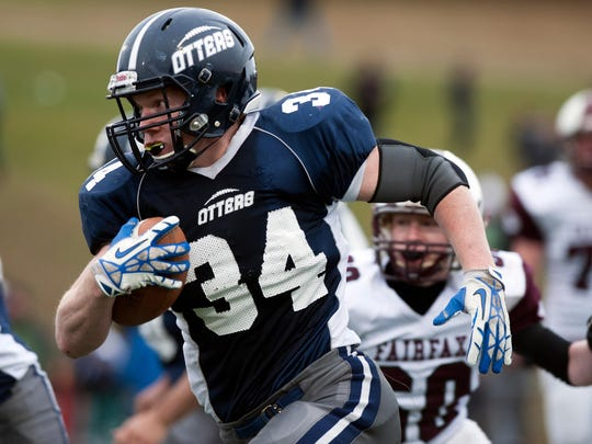 Otter Valley's Carson Leary (34) runs with the ball during the Vermont high school division III championship football game between Otter Valley and BFA Fairfax at Rutland high school on Saturday November 8, 2014 in Rutland, VT. (BRIAN JENKINS, for the Free Press)
