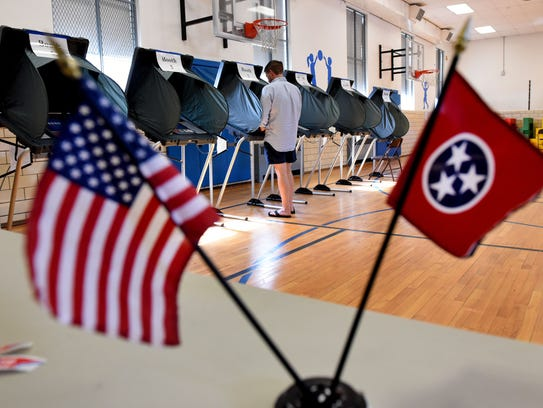 A lone voter at Sequoyah Elementary School in the Knoxville