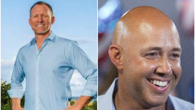 Randy Perkins, left, and Brian Mast debated Monday night in Palm Beach Gardens.