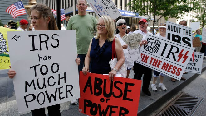 A protest in Cincinnati against the IRS last May.