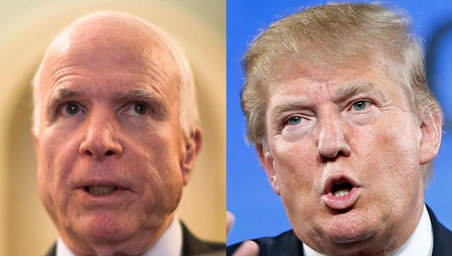 Sen. John McCain, R-Ariz., and GOP presidential candidate Donald Trump.