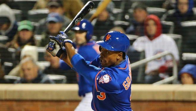 Curtis Granderson led the Mets in WAR this season and has excelled in the playoffs, including this RBI single off Jon Lester in Game 1 of the NLCS.