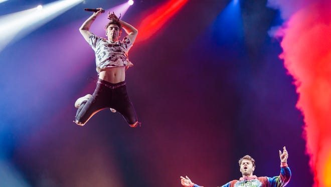 Andrew Taggart and Alex Pall of the Chainsmokers perform live at Autodromo de Interlagos on March 25, 2017, in Sao Paulo, Brazil. (Photo by Mauricio Santana/Getty Images)