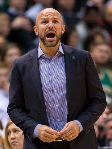 Jason Kidd had to be pulled away from an official after