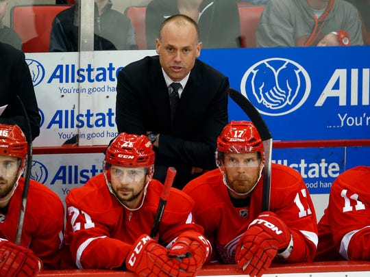 Detroit Red Wings head coach Jeff Blashill watches