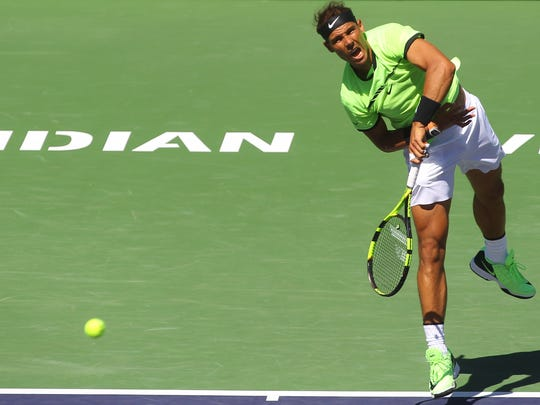 Rafael Nadal returns serves to fellow Spaniard Fernando Verdasco in the men's 3rd round on Tuesday, March 14, 2017 in Indian Wells, CA.