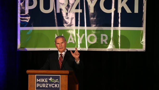 Developer Mike Purzycki announces his candidacy for mayor of Wilmington during a campaign event at the Chase Center on the Riverfront Wednesday.