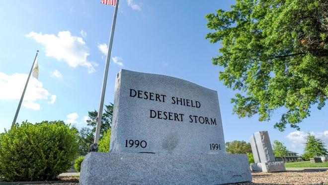 The Desert Storm Memorial Stone is located in Fort Leonard Wood's Memorial Grove near the intersection of Nebraska Avenue and Pine Street. As with memorials dedicated to other conflicts, visitors often place coins and other mementos on the stone in memory of those who served.