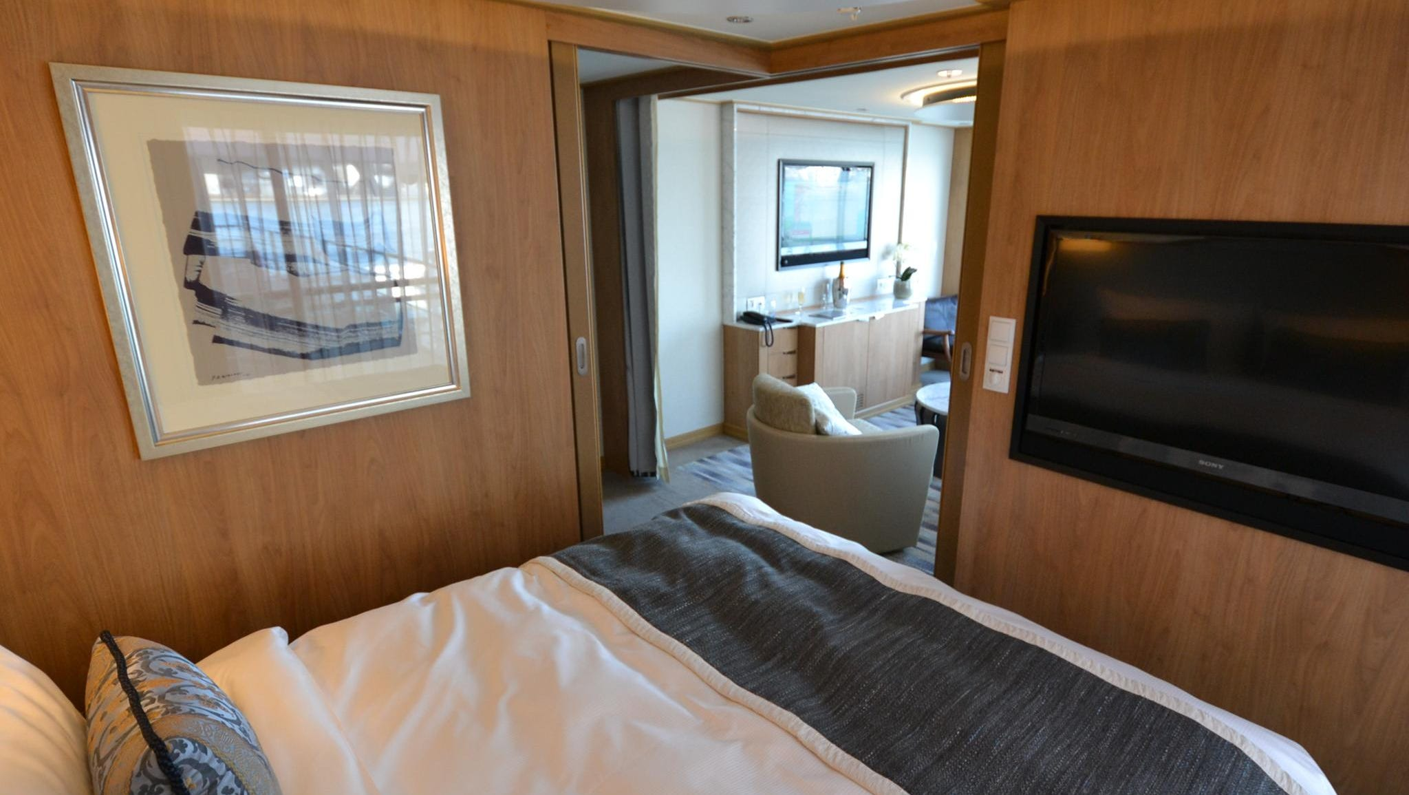 The Explorer Suites feature separate sleeping and sitting quarters, a full balcony and French balcony and two flat-panel televisions.